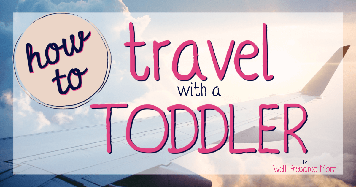 how to travel with a toddler text with background of a plane in the air