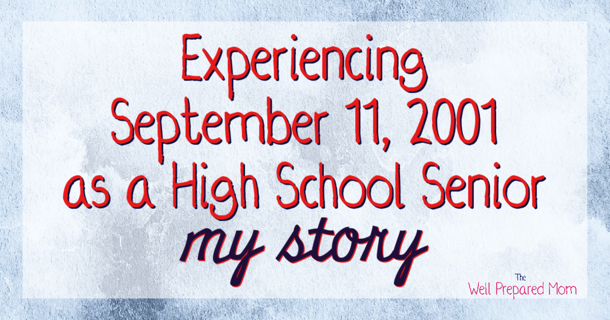 text experiencing september 11, 2001 as a high school senior my story on cloudy blue background