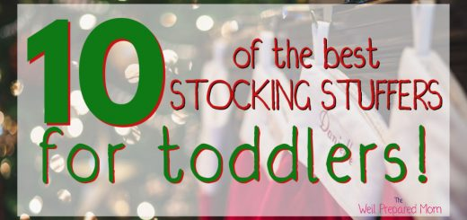 10 of the best stocking stuffers for toddlers text with christmas stockings in the background