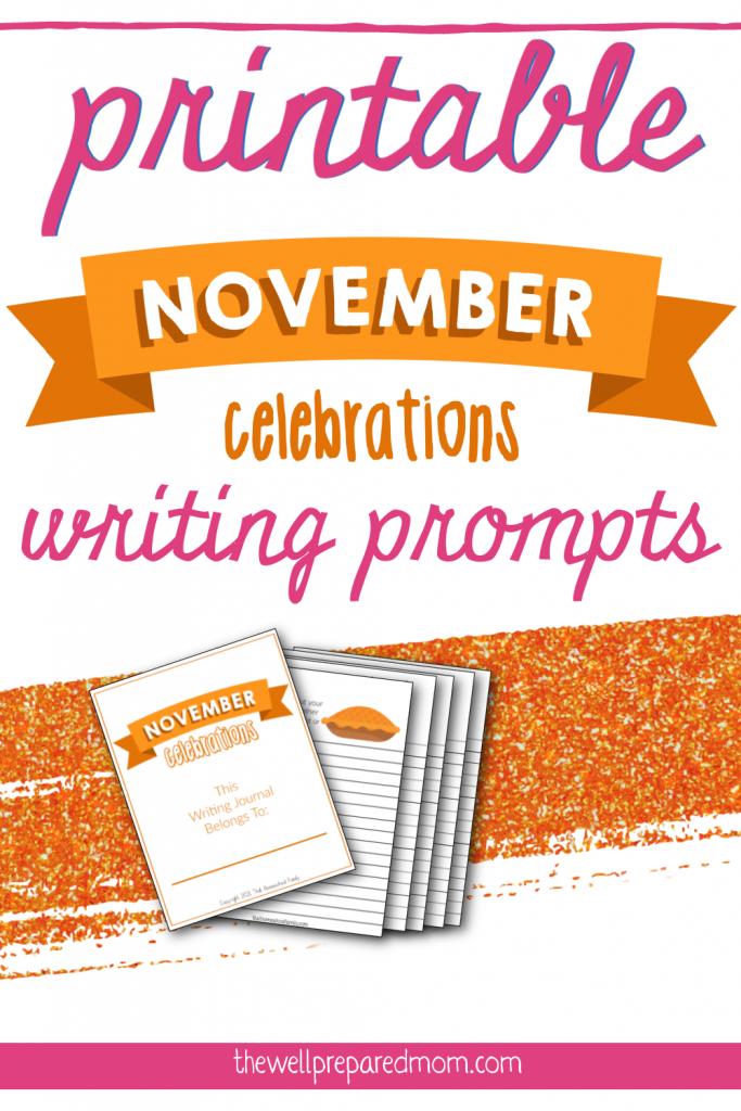 printable november celebrations writing prompts