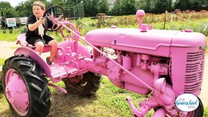 One of our favorite homeschool field trips is visiting our local farm! Image shows a young boy sitting on a pink tractor in a farm field.