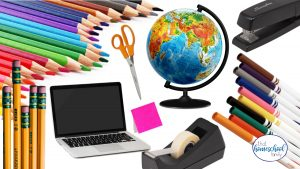 Our Must Haves Homeschool Supply Checklist featured image with images of a stapler, markers, laptop, colored pencils, pencils, post it notes, globe, scissors, and a tape dispenser from That Homeschool Family written by Elizabeth Dukart