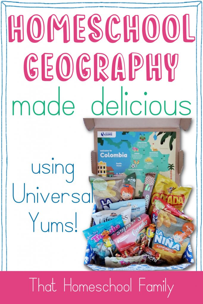Homeschool Geography made delicious using Universal Yums with image of a Universal Yums box from That Homeschool Family article written by Elizabeth Dukart