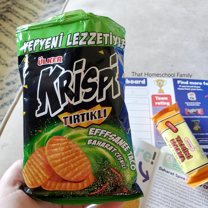 A bag of chips from Universal Yums from the Homeschool Geography is Delicious with Universal Yums article from That Homeschool Family written by Elizabeth Dukart