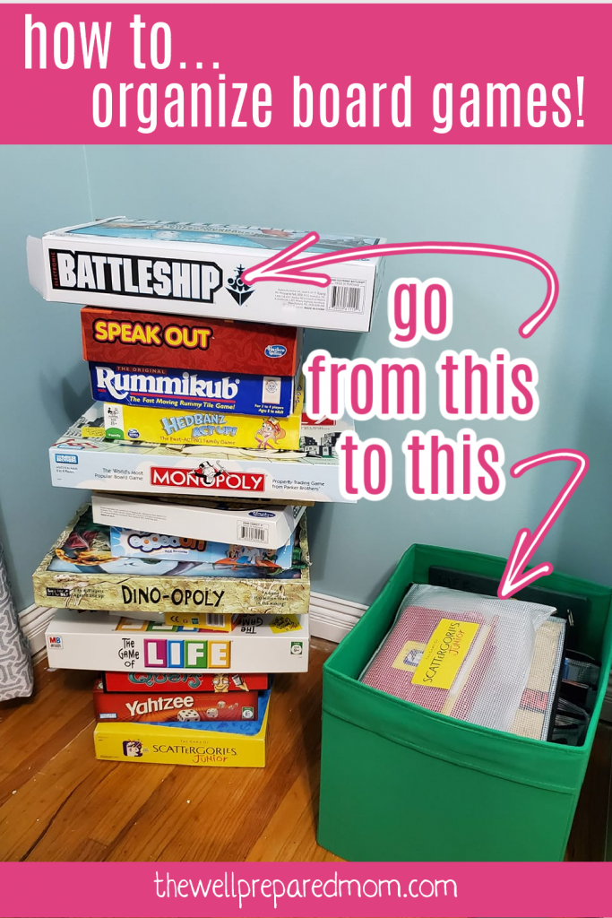 text how to organize board games with image of a stack of board games next to a bin of board games stored in a bag