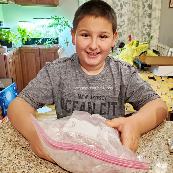 young boy in the kitchen making blackberry ice cream in a bag from the article Kids in the Kitchen: How to Make Blackberry Ice Cream from That Homeschool Family written by Elizabeth Dukart