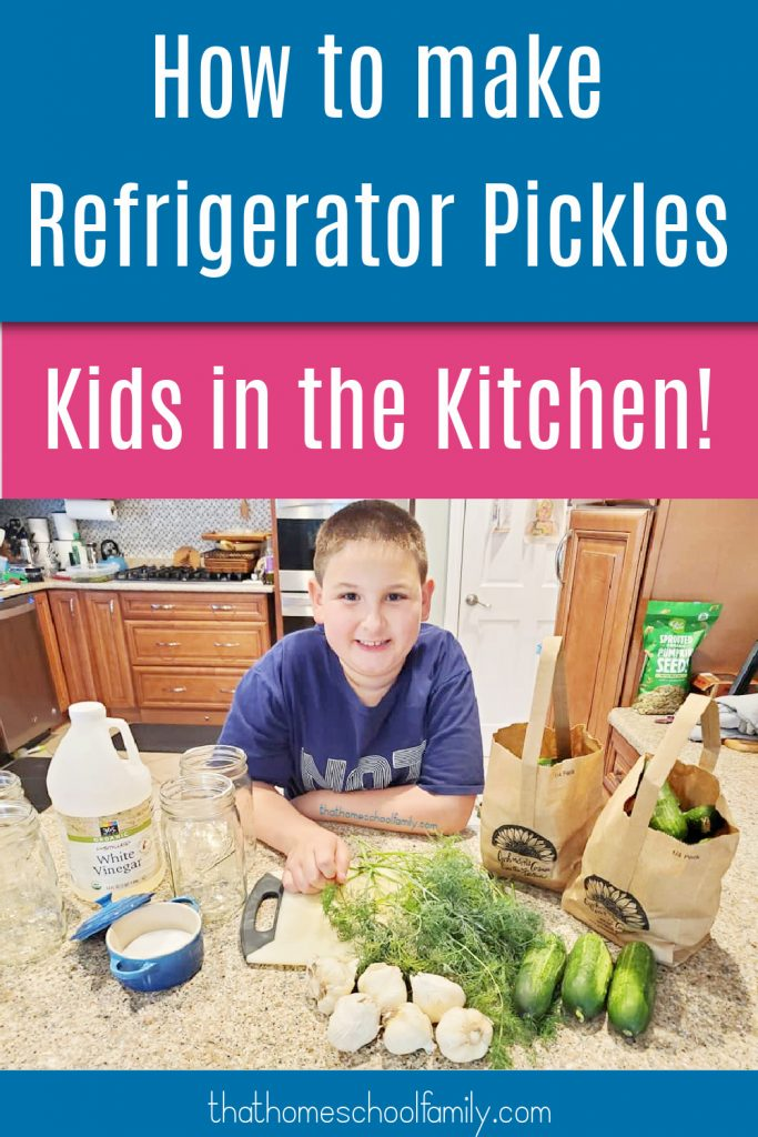 how to make refrigerator pickles kid in the kitchen text with image of 9 year old boy in the kitchen with ingredients to make recipe