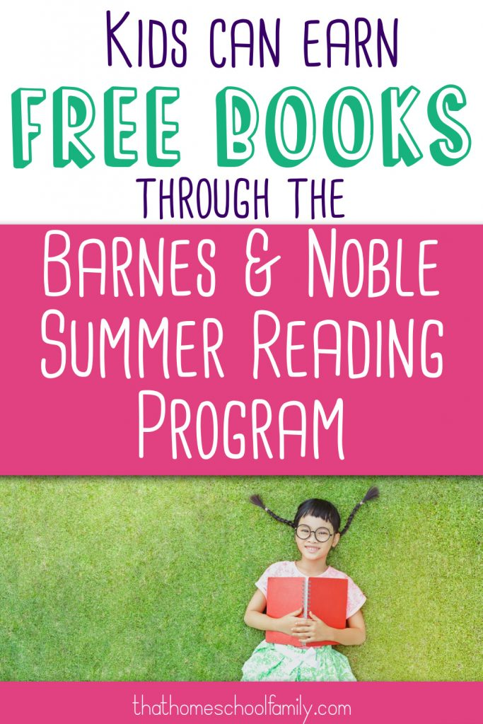 """image of a young girl with pigtails laying on the grass holding an open book with a red cover with text """"Kids can earn free books through the Barnes and Noble Summer Reading Program"""" from the That Homeschool Family article written by Elizabeth Dukart"""