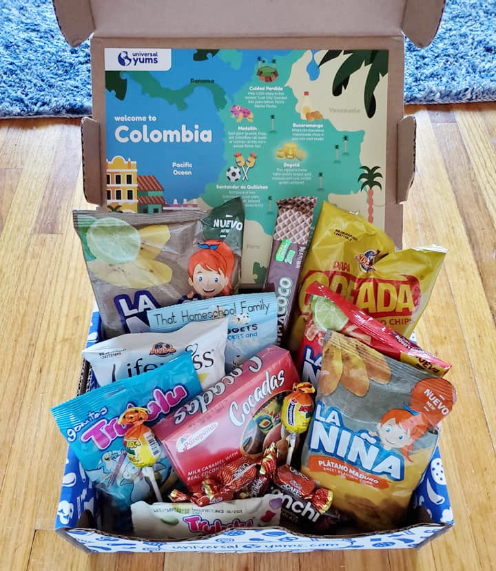 One of our boxes from Universal Yums from the Homeschool Geography is Delicious with Universal Yums article from That Homeschool Family written by Elizabeth Dukart