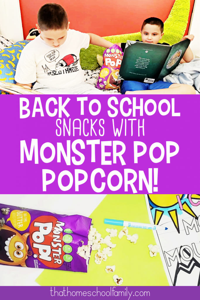 back to school snacks with monster pop popcorn text with images of popcorn spilled on top of paper and two children reading books while snacking on popcorn from That Homeschool Family article written by Elizabeth Dukart