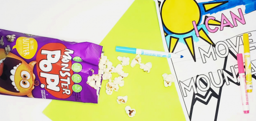 image of monster pop popcorn spilled on a piece of green paper next to a coloring sheet from that homeschool family