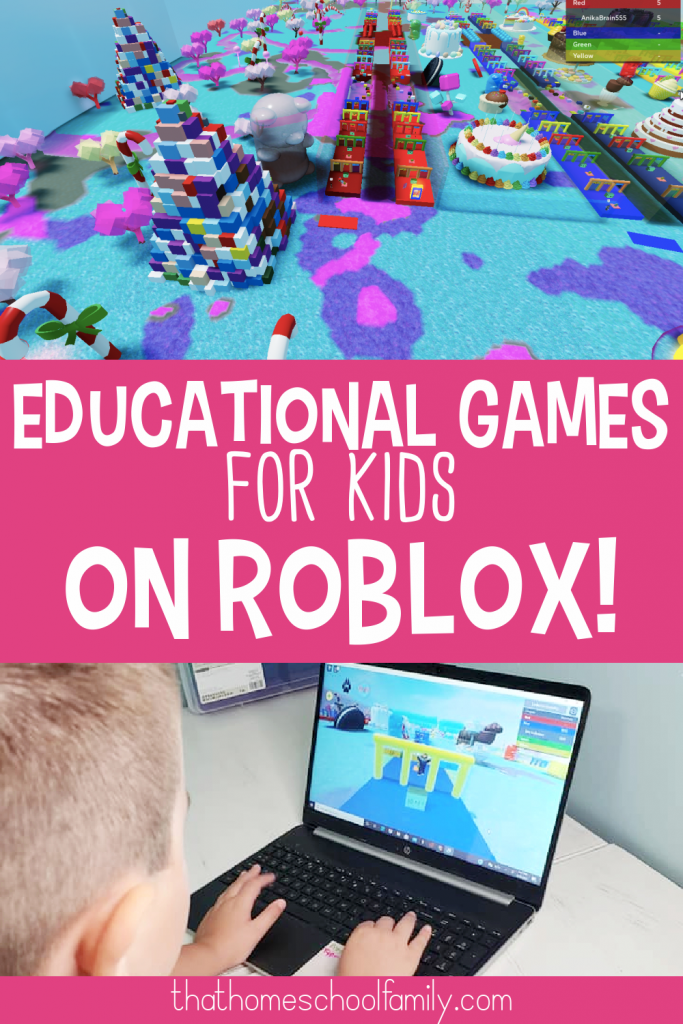 text: educational games for kids on roblox image on top of a screenshot of the Brainika Math Roblox program and image on the bottom of a 7 year old boy playing the Brainika Math game