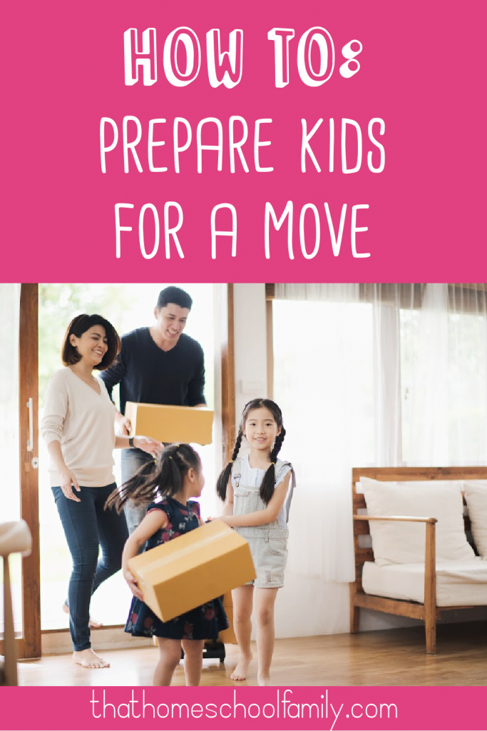 how to prepare kids for a move text with image of a young family moving into a new home for the article 7 stress free ways to prepare kids for a move from That Homeschool Family written by Elizabeth Dukart