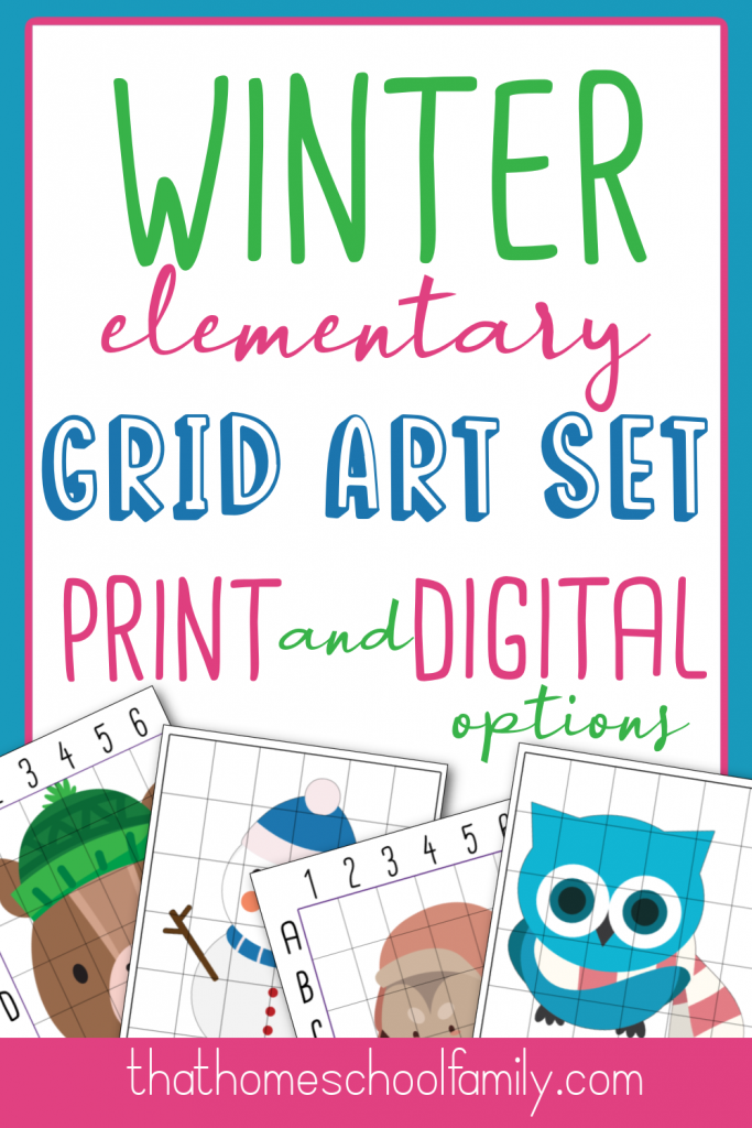 winter elementary grid art set print and digital options from that homeschool family