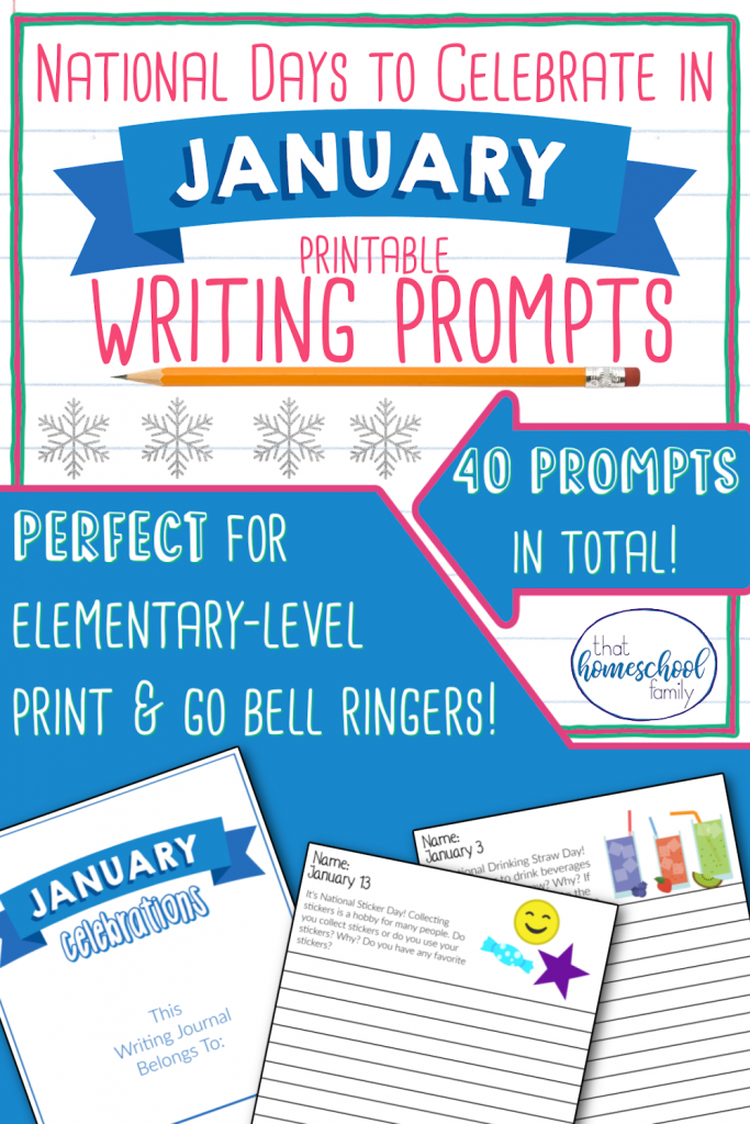 National days to Celebrate in January Printable Writing prompts from That Homeschol Family