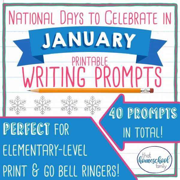 national days to celebrate in january printable writing prompts 40 prompts in total perfect for elementary level, print and go bell ringers