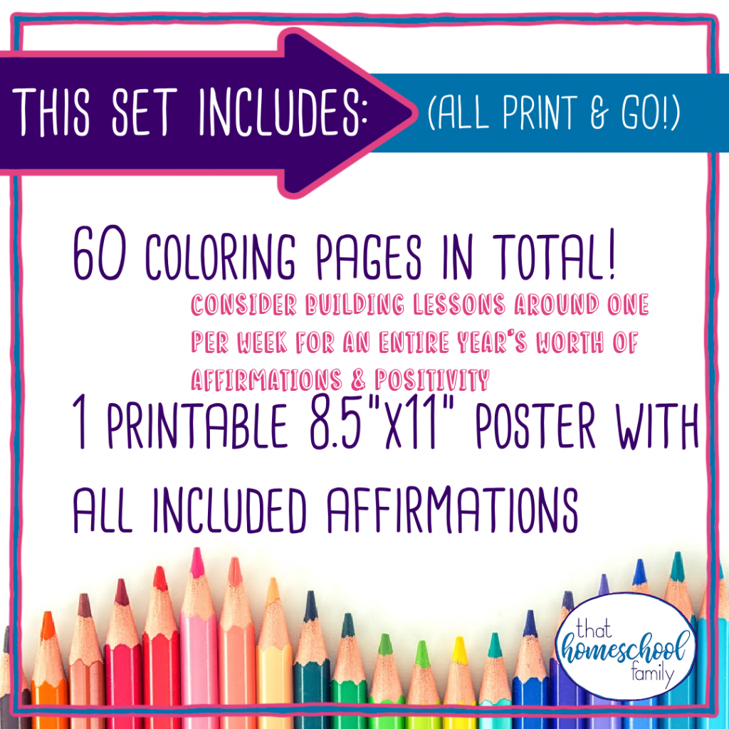"""this set includes: (all print and go) 60 coloring pages in total! consider building lessons around one per week for an entire year's worth of affirmations and positivity 1 printable 8.5""""x11"""" poster with all included affirmations"""