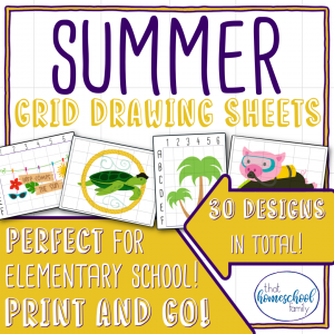 Summer grid drawing sheets from that homeschool family