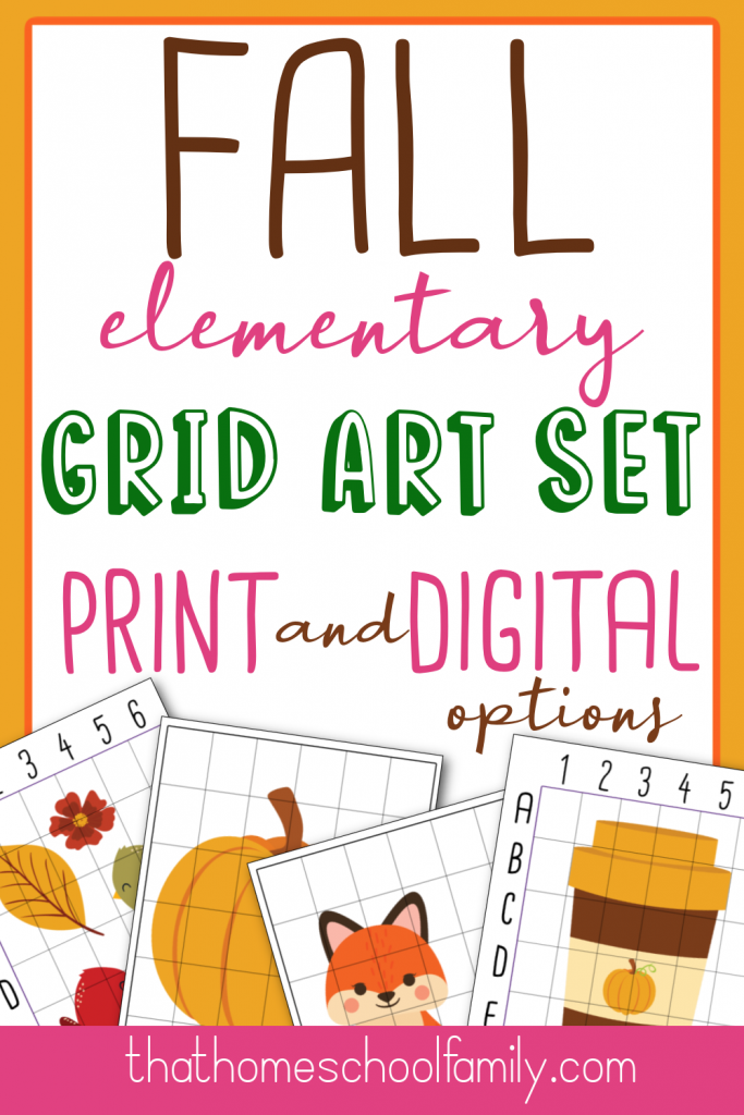 fall grid drawing set elementary print and digital options from That Homeschool Family