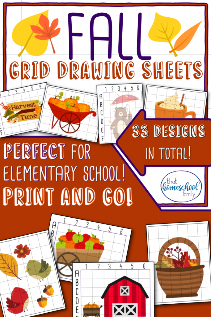 fall grid drawing sheets from that homeschool family