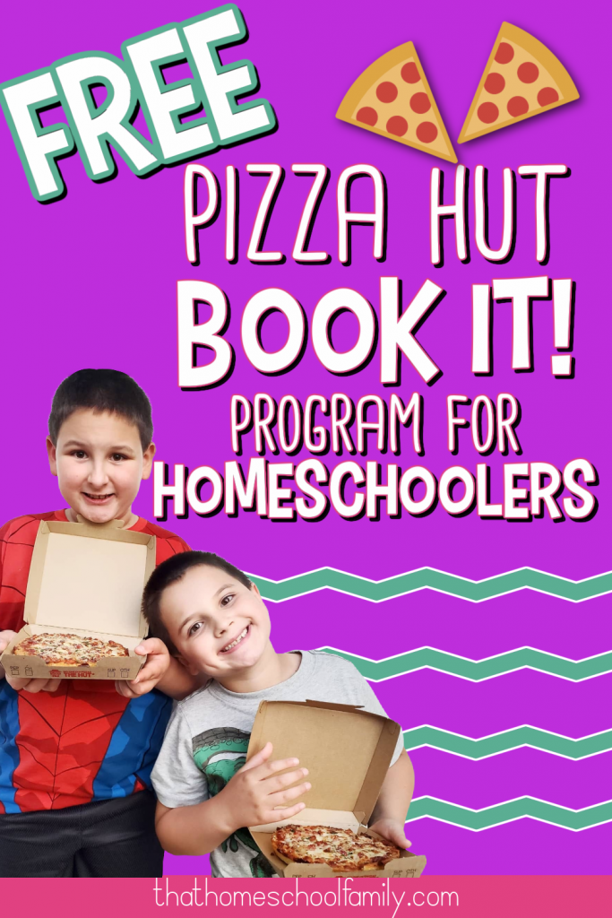 """image of two young boys holding personal pan pizzas from Pizza Hut with text """"Free Pizza Hut Book It! program for homeschoolers"""" with a purple background. Two clip art pizza slices in the top right corner."""