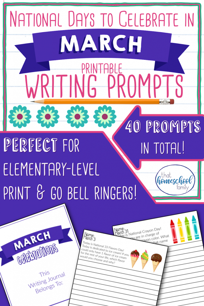 national days to celebrate in march writing prompts, printable, 40 prompts included, perfect for elementary age print and go bell ringers