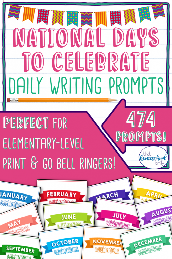 national days to celebrate writing prompts that homeschool family