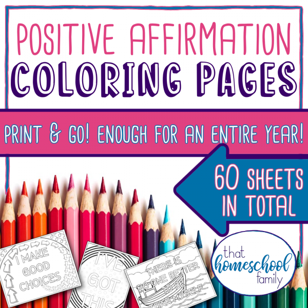 positive affirmation coloring pages print and go enough for an entire school year 60 sheets in total