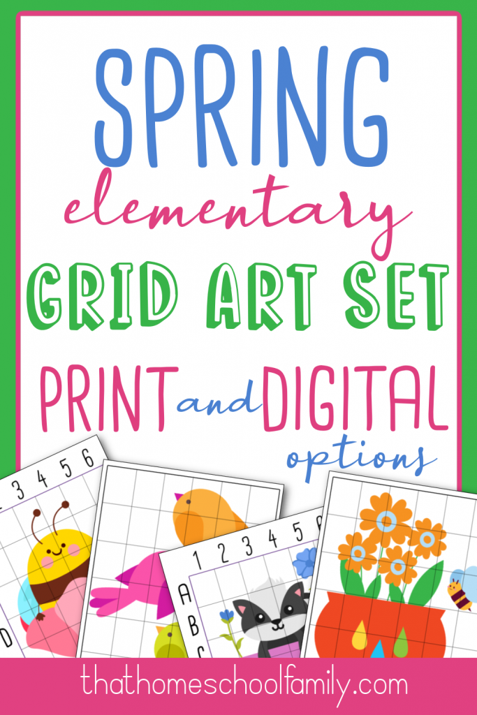 spring elementary grid art set with print and digital options from That Homeschool Family