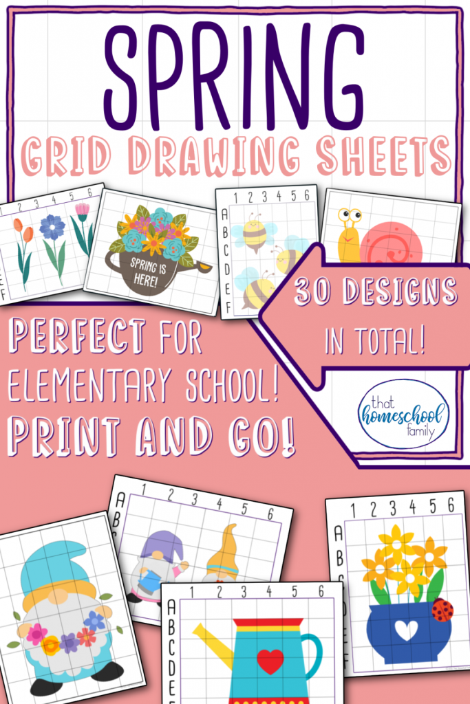 spring grid drawing sheets from that homeschool family