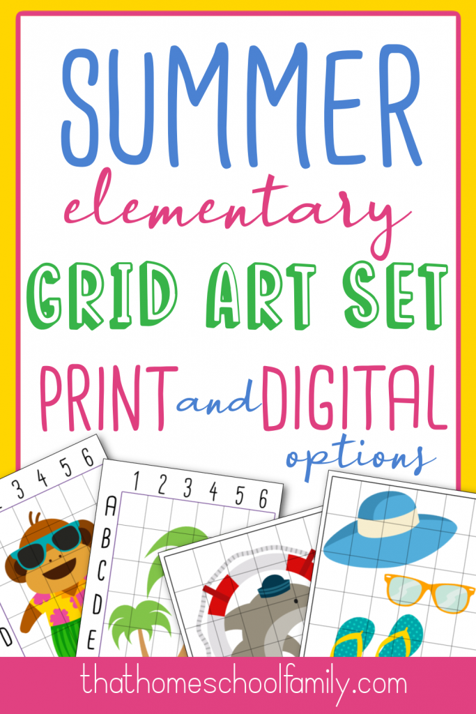 summer elementary grid art set print and digital options from that homeschool family