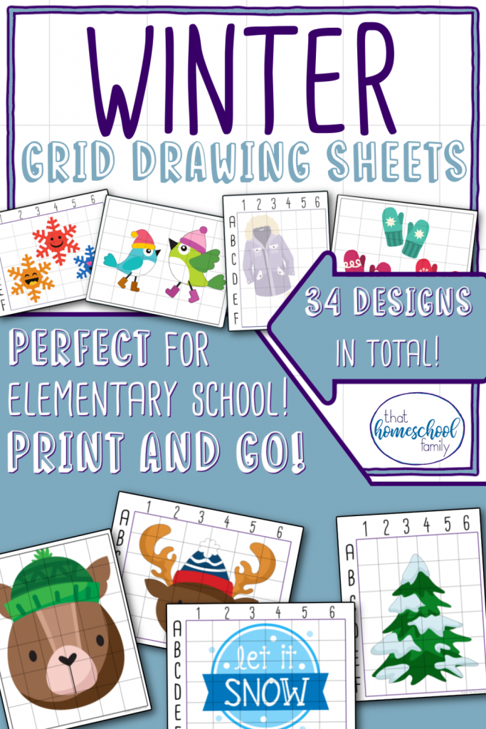 winter grid drawing sheets from that homeschool family