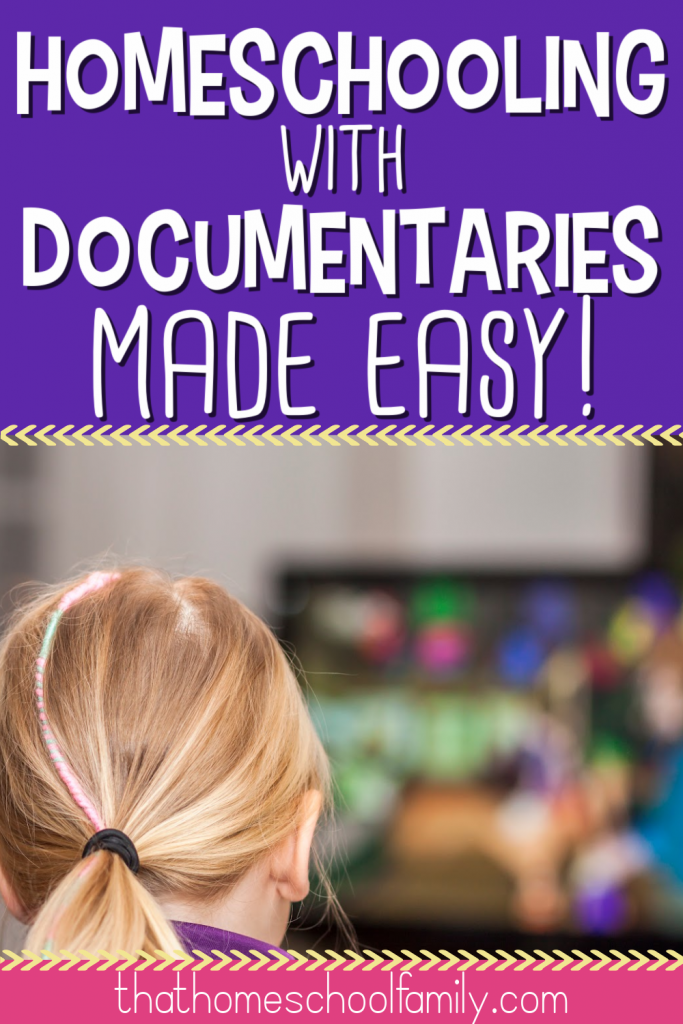 homeschooling with documentaries made easy with image of a blond haired little girl watching a television screen from That Homeschool Family article.